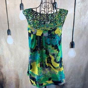 NWOT Anthropologie Odille Vibrant Watercolor  Top